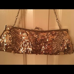 Exquisite Gold Beaded Evening Bag
